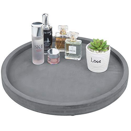 MyGift 16-inch Dark Gray Round Concrete Bathroom Vanity Tray