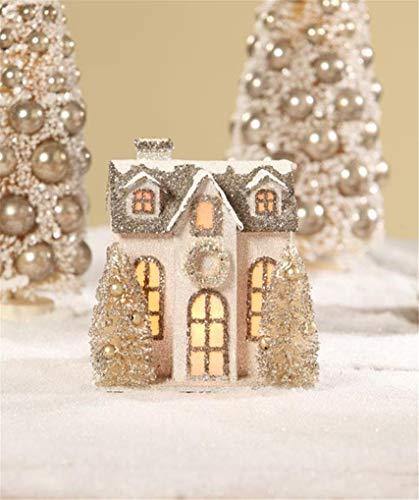 Bethany Lowe Elegant Woodland Glitter Christmas Village Ivory Country House