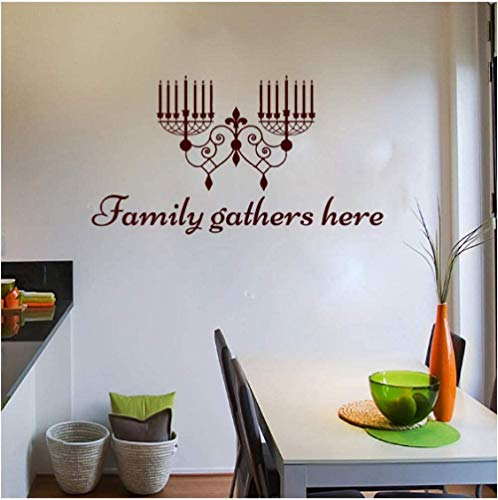 Family Gathers Here Candle Holder Wall Stickers Vinyl Removable Home Decor Wall Decal Kitchen 31X59Cm