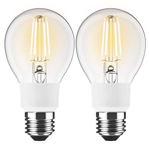 BrizLabs 2 Stück Smart LED Filament Lampe E27 WLAN Glühlampe 6W A60 Dimmbar Leuchtmittel Ersetzt 60W Glühbirne für Amazon Alexa Google Home IFTTT, 650 Lumen Birne 2700K, Warmweiß