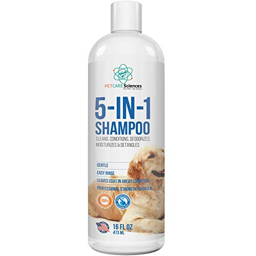 PET CARE Sciences Dog Shampoo, Naturally Derived Dog and Puppy Shampoo and Conditioner, 5 in 1 Formula with Coconut, Aloe and Oatmeal, Tear Free Dog Shampoo for Sensitive Skin, Made in The USA,16 floz