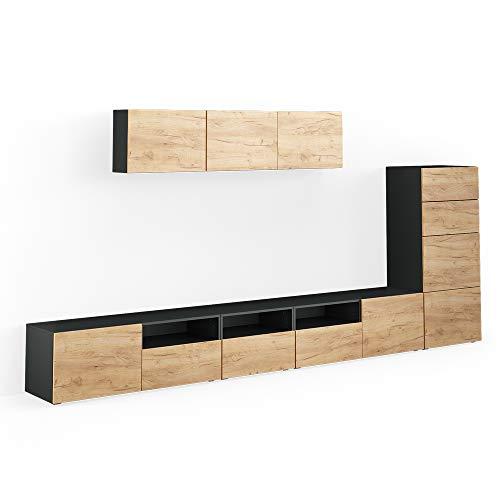 Vicco Wohnwand 7er Set Compo Lowboard Sideboard Schrank Regal (Anthrazit/Eiche)