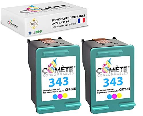 Cometa - Lote de 2 cartuchos compatibles con HP 343 (C 8766 E), color para impresoras HP DESKJET