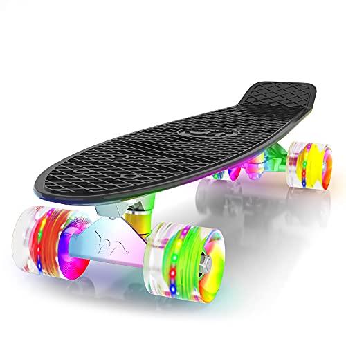 Merkapa 22  Complete Skateboard with Colorful LED Light Up Wheels for Beginners (Black)