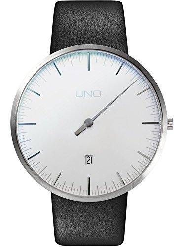 Botta Design UNO Plus Jubiläumsedition Quarz Armbanduhr - Einzeigeruhr, Edelstahl, Datum, Lederband (44, Perlweiß)