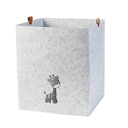 Filz Aufbewahrungskorb mit Giraffe und PU-Lederlaschen für Kinderzimmer grau (Farbe wählbar) | Box, Korb für Spielsachen 33x33x33 cm