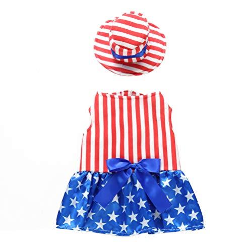 POPETPOP Poppop - Disfraz de Bandera de Estados Unidos para Perro, diseño de Rayas Blancas con Sombrero para el día conmemorativo de un Perro pequeño, Talla M (niña)