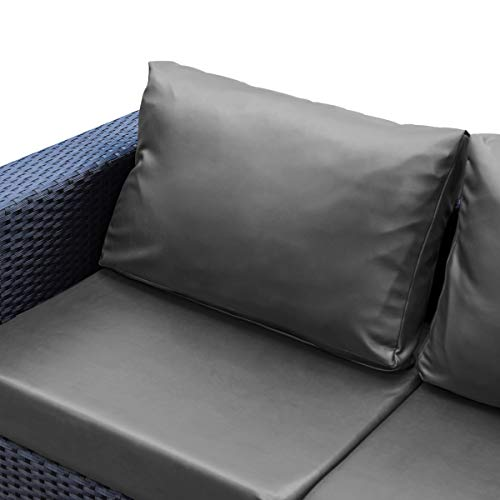 subrtex Leather Cushion Pillow Covers PU Outdoor Pillow Covers Waterproof Pillowcases Elastic Lumbar Throw Pillow Covers for Sofa Patio Couch Bench 14 x 24.5 Inch(Light Grey), 2pcs
