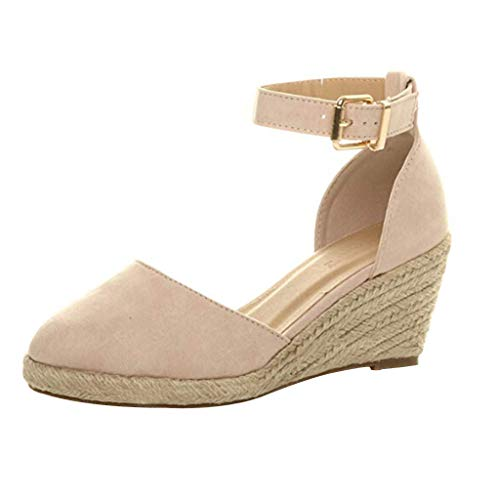 Find Bargain Coupondeal Women' Buckle Ankle Strap Sandals Wedges Sandals Summer Weaving Breathable S...