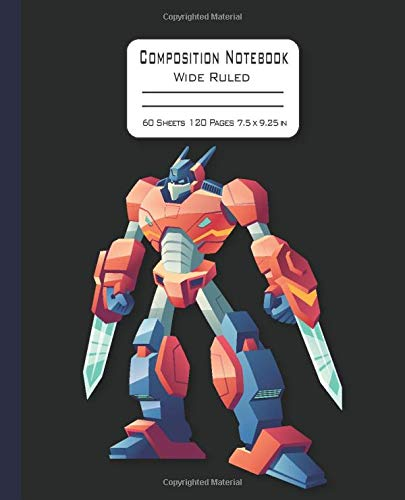 Composition Notebook: Wide Ruled Transformer Notebook in Black Background for Kids, Boys, Girls, Teens, Students Back to School Gift Journal.
