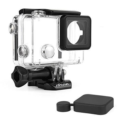 SOONSUN Wasserdichtes Tauchgehäuse für GoPro Hero 4 Hero 3+ Hero 3 Hero4 Hero3 Kamera mit wasserdichter BacPac-Hintertür und Silikon-Objektivdeckel – unter Wasser 40 Meter