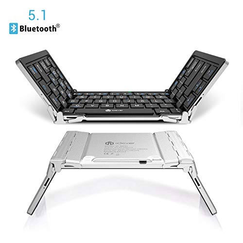 iClever Bluetooth Keyboard, Bluetooth 5.1 Foldable Wireless...