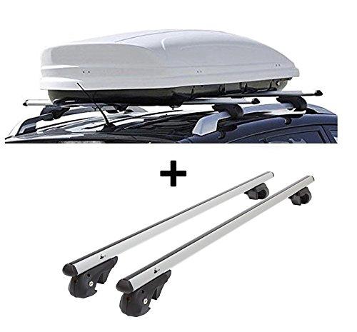 Skibox VDPMAA460 460Ltr weiß abschließbar + Alu Relingträger VDP004L kompatibel mit VW Golf V Variant 1K 07-10