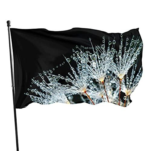 Gotas de agua en la bandera del jardín de flores Bandera interior al aire libre 3 x 5 pies, banderas de playa duraderas resistentes a la decoloración con encabezado, fácil de usar
