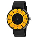 ADAMO Analogue Men's Watch (Yellow Dial Black Colored Strap)