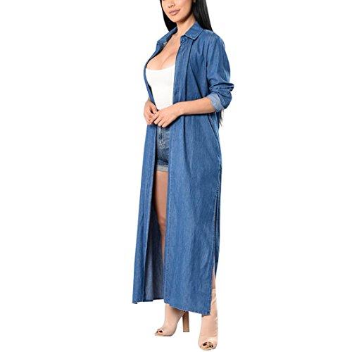 YYF Damen Oversize Mode Cardigan Cowboy Denim Jeans Lose Windbreaker Jacken Jeansmantel Outwear Umhang