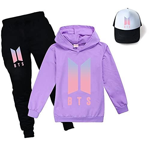 BTS Hoodies Set für Jungen Mädchen Hoodie + Hose + Sonnenhut Unisex Mode Pullover Hoodies für Kinder, violett, 11-12 Jahre