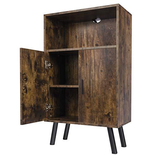 LAVIEVERT Armario de almacenamiento multiuso con carcasa abierta y 2 compartimentos cerrados para cocina, sala de estar, dormitorio, color marrón