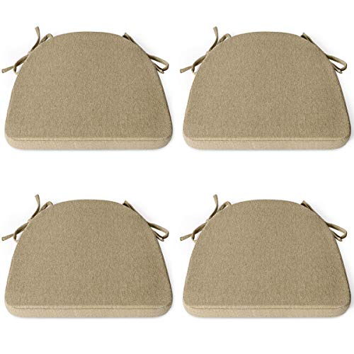 Review For Shinnwa Chair Cushion With Ties For Dining Chairs 17 X 16 5 Inches Non Slip Kitchen Dining Chair Pad And Seat Cushion With Machine Washable Cover Set Of 4 Natural Linen