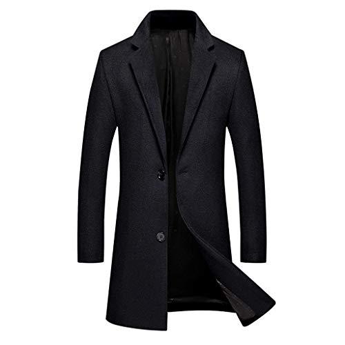 Blazer Hommes Casual Trench-Coat Mode Veste en Cuir Hommes d'affaires Long Slim Manteau Veste Outwear