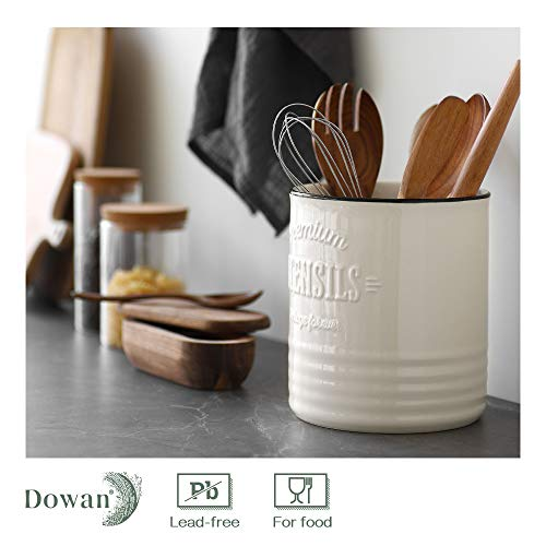 DOWAN Kitchen Utensil Holder for Countertop, 7.2″Large Ceramic Utensil Crock, Vintage Farmhouse Kitchen Décor, Deep and Stable, Table-Protection Cork Mat, Easy to Clean, White Cooking Utensil Holder