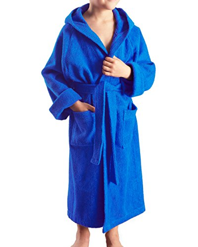 Arus Kinder-Bademantel mit Kapuze für Jungen und Mädchen, 100% Baumwolle Frottee, lang, Royalblau, 128