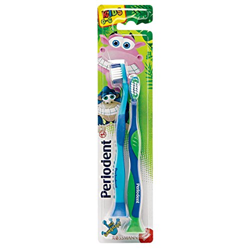 Perlodent med Zahnbürste für Kinder , 2 Stück mit Saugnapf, Kids 0-6 Jahre