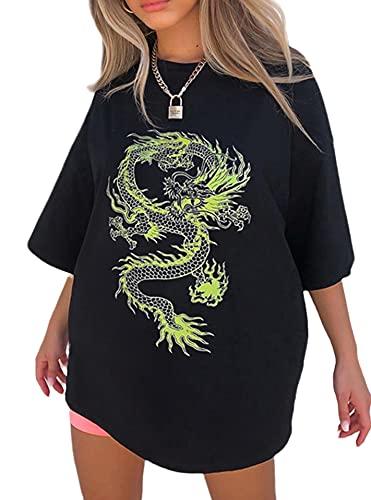 Loralie Japanischen Stil Damen Kurzarm Ukiyo-e T-Shirt Sommer Oberteile Teenager Mädchen Oberteile Boyfriend Tshirt (M, Drachen/Schwarz)