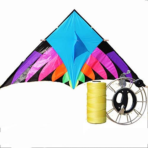 Kite grote volwassen paraplu doek winddicht kleurrijke lange staart driehoek haspel