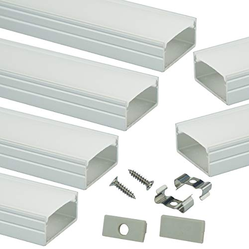Muzata LED Channel System with Milky White Cover,16mm Super Wide Aluminum Extrusion Profile Track Diffuser for Tape Strip Light Philips Hue Plus,U Shape,6Pack 3.3Ft U102 1M WW, LU2 LP1