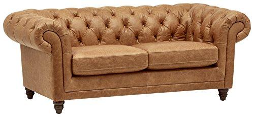 Amazon Brand – Stone & Beam Bradbury Chesterfield Modern Tufted Leather Loveseat Sofa Couch, 78.7'W, Cognac
