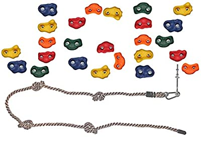 Jungle Gym Kingdom DIY 25 Rock Climbing Ninja Hand Holds with Robust 8 Foot Knotted Rope Build Childrens Playground Wall Kids Indoor Outdoor Play Sets with Mounting Hardware