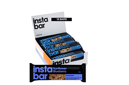 Instabar Sunflower & Blueberry Fruit and Nut Bar - Gluten & Lactose Free - (Pack of 16 x 35g Bars)