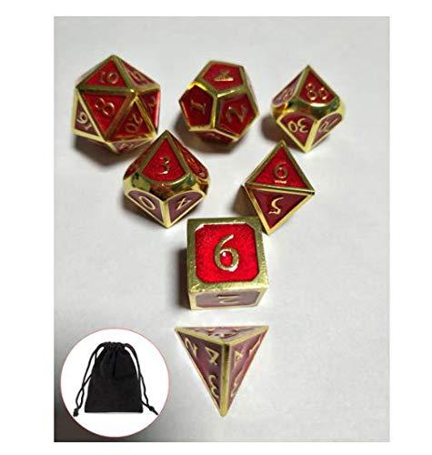 EsportsMJJ 7st reliëf zware metalen polyhedrale dobbelstenen DND RPG MTG rol spelen spel met opslag tas #13