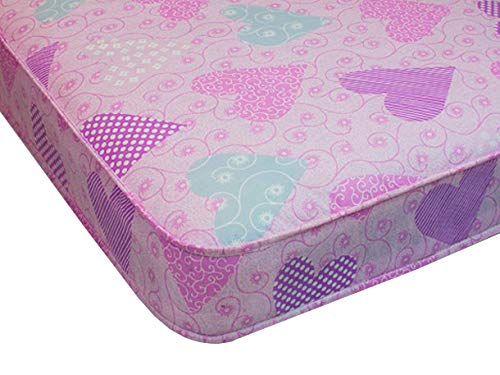 Starlight Beds - Pink 3ft Budget Single Mattress with Pink Love Heart Material 90cm x 190cm