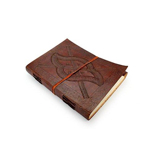 A.P. Donovan - Tagebuch in Leder-Umschlag - Notizblock in Blanko, Orient, für Skizzen, Kladde fürs Büro oder Uni - Notizbuch in Braun, DIN A4