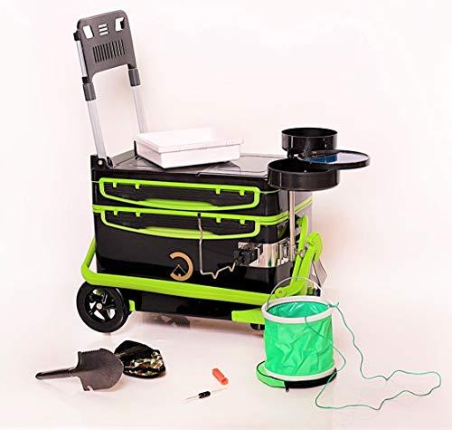 SAROS Angelbox mit Räder, Angelkoffer mit Sitz, Thermobox für Angler, Premium Set mit 4 Räder (Sonderfertigung) (Grün)