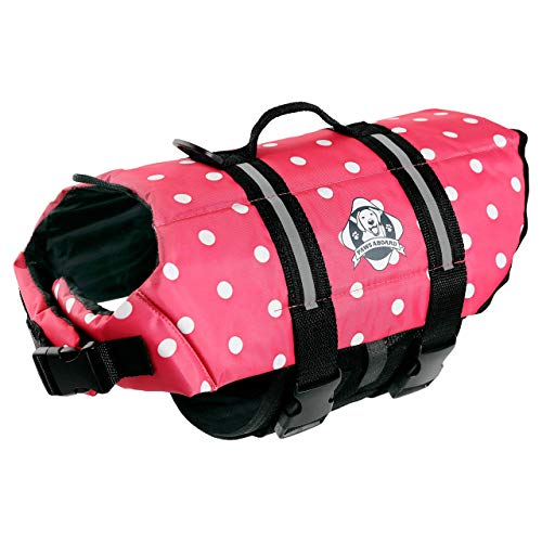 Paws Aboard Dog Life Jacket, Neoprene Dog Life Vest for Swimming and Boating - Pink Polka Dot