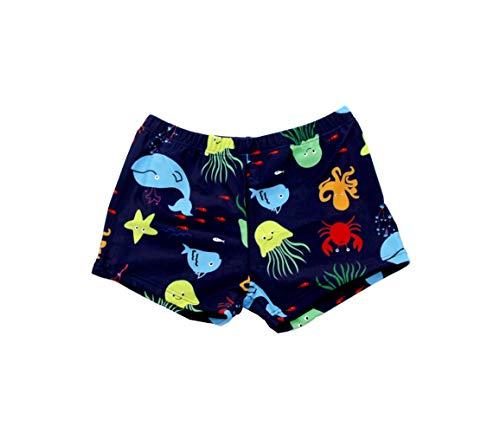 SOL Y PLAYA-Bañador Tiburón para niño Bañador Niños Boxer de Natación Traje de Baño (Shark Shark) Animales Mono ( Monkey ) Vida Marina pez ( Fish ) Tortuga Marina (Azul Marino-2, 5-6años)