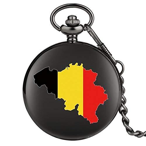 GIPOTIL Reloj de Bolsillo de Cuarzo alemán de deu Negro Rojo Amarillo Deutschland Bandera de Alemania Reloj de Recuerdo Decoración de joyería Reloj Fob para Hombres y Mujeres, Solo Reloj