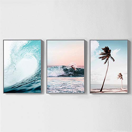 GSMWY Nordic Landscape Surf Poster Wall Art Aerial Beach Ocean Wave Prints Palm Tree Canvas Painting Wall Picture for Living Room 3...