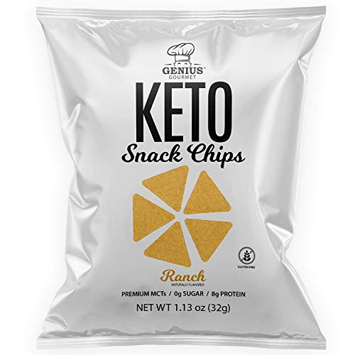 Genius Gourmet Protein Keto Chips, Low Carb, Premium MCTs, Gluten Free, Keto Snack (Ranch), Pack of 8, 1.13 oz. (32 g) Each