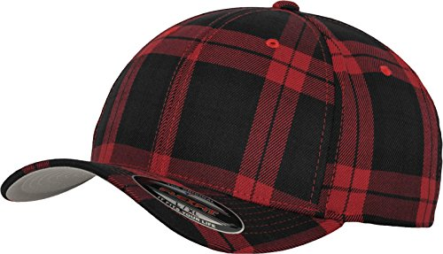 Flexfit Tartan Plaid Mützen, Blk/Red, S/M