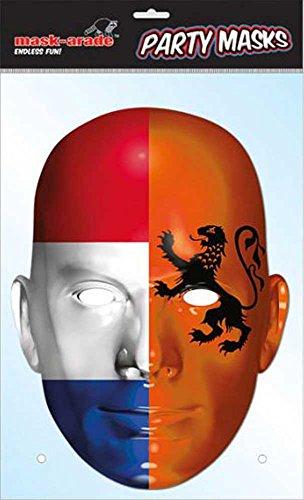 Holland Drapeau – Fan Masque en carton,, en carton brillant de qualité avec trous pour les yeux et élastique 30 x 21 cm