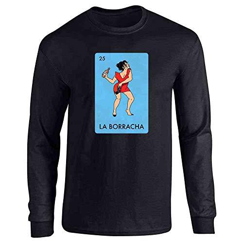 Pop Threads La Borracha Drunk Woman Mexican Lottery Funny Parody Black XL Full Long Sleeve Tee T-Shirt