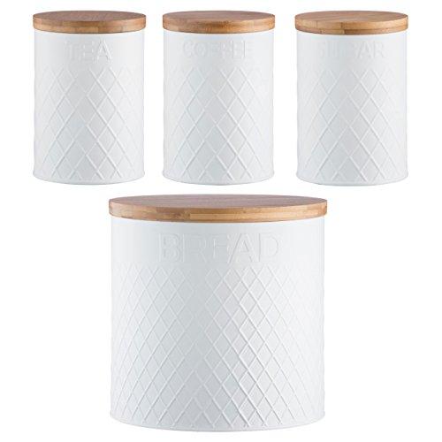 Typhoon Lot de boîtes de rangement blanches en relief pour thé, café et sucre, corbeille à pain et torchon Kilner