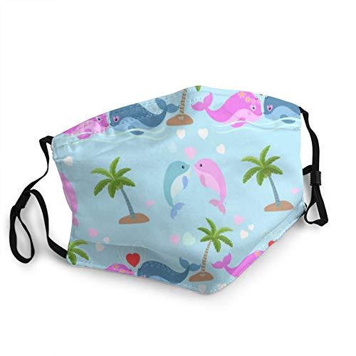 CAP PILLOW HOME Mascarilla de tela lavable, adorable ballena en el mar azul con corazón reutilizable y ajustable contra el polvo cubierta de tela protectora
