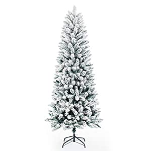 Artificial Christmas Trees,Classic Pencil Tree with White Snow Flocked,Unlit 5/6/7FT