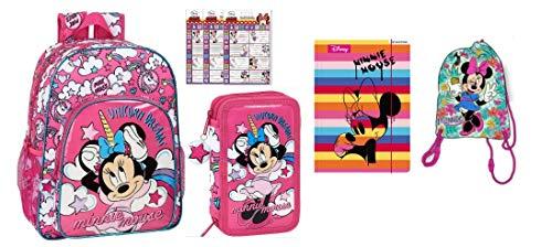 Minnie Mouse Design Set de 7 piezas, 1 x mochila escolar, aprox. 42 cm de alto, 1 x estuche lleno, 1 x bolsa de deporte escolar, 1 x carpeta de goma, 3 x 16 unidades de etiquetas.