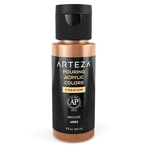 Arteza Pouring Acrylfarbe, 60 ml, A702 Bronze, flüssige Gießfarbe, kein Mischen erforderlich, Farbe zum Gießen auf Leinwand, Glas, Papier, Holz, Fliesen und Steinen